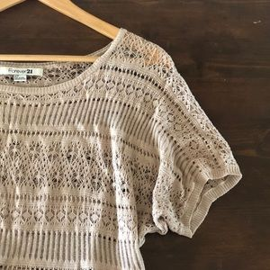 Forever 21 Cream Lace Overlay Dolman Crop Top